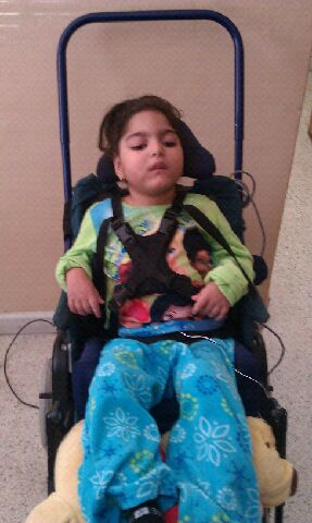 A young patient in a stroller